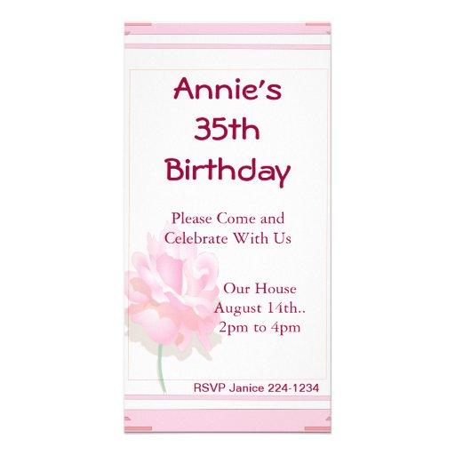 Rosa do rosa cartões com foto personalizados
