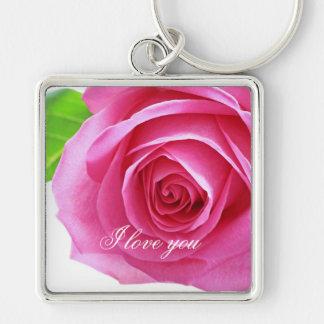 Rosa do rosa, presente do amor chaveiro quadrado na cor prata