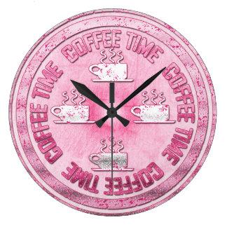 Rosa do tempo do café relógios para paredes