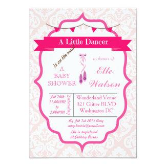 Rosa dos convites do chá de fraldas da bailarina convite 12.7 x 17.78cm