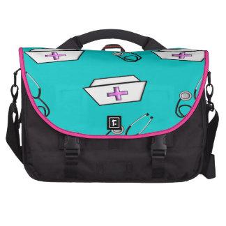 Rosa e azul do saco do boné e do estetoscópio da e bolsa para laptop
