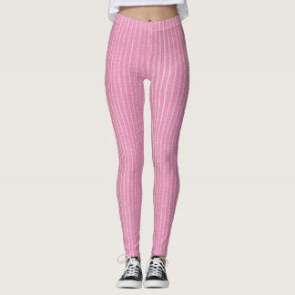 Rosa e branco, luz - o Pin cor-de-rosa listra Legging