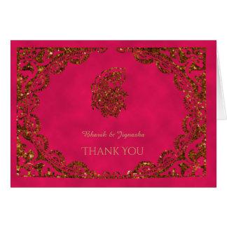 Rosa e cartões de agradecimentos do indiano do