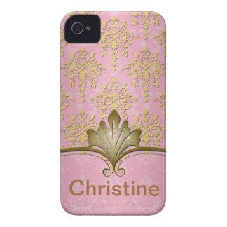 Rosa e damasco feminino do ouro capa iPhone 4 Case-Mate