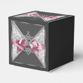 Rosa e doce 16 do carvão caixinha de lembrancinhas