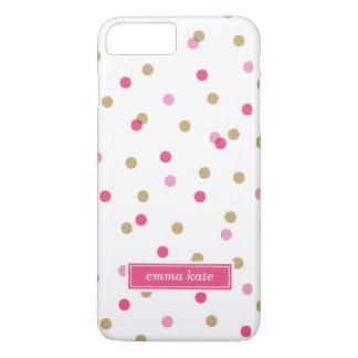 Rosa e monograma dos pontos dos confetes do ouro capa iPhone 8 plus/7 plus