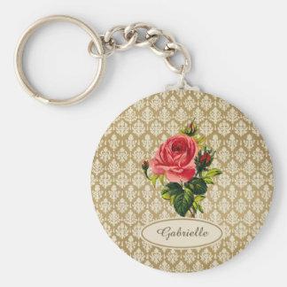 Rosa e nome do rosa da cor damasco do ouro do chaveiro
