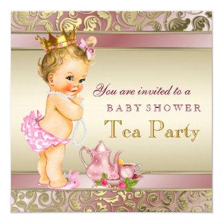 Rosa e ouro do chá de fraldas do tea party convite quadrado 13.35 x 13.35cm