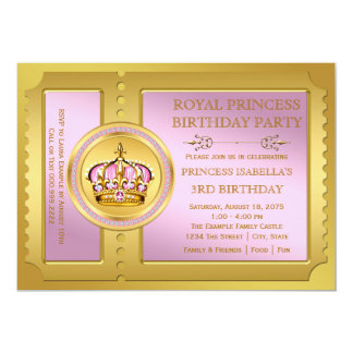 Rosa e princesa festa de aniversário do ouro convite 12.7 x 17.78cm