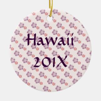 Rosa e roxo havaianos da flor ornamento de cerâmica