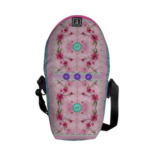 rosa e saco floral da cerceta bolsas mensageiro