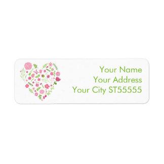 Rosa e verde do coração das flores e dos vapores etiqueta endereço de retorno