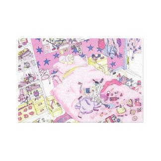 Rosa engraçado do quarto do adolescente das impressão em canvas