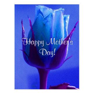 Rosa feliz do azul do dia das mães cartão postal
