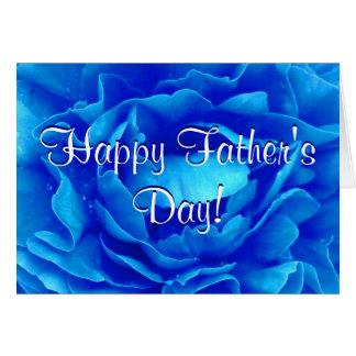 Rosa feliz do azul do dia dos pais cartão comemorativo