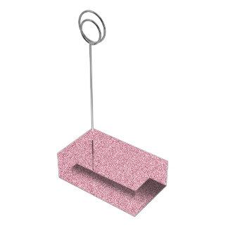 Rosa feminino da folha metálica do falso suporte para cartoes de mesas