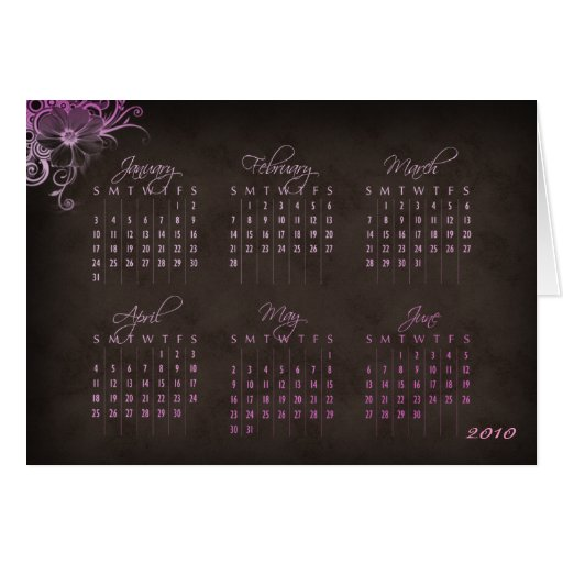 Rosa floral Brown do cartão de 2010 calendários