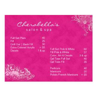Rosa floral do folheto do cartão dos termas do sal cartão postal