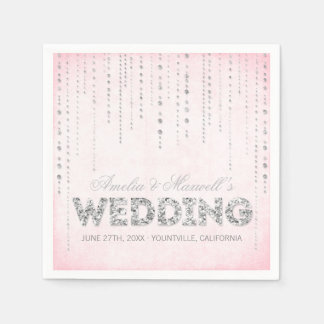 Rosa & guardanapo do casamento do olhar do brilho  guardanapos de papel