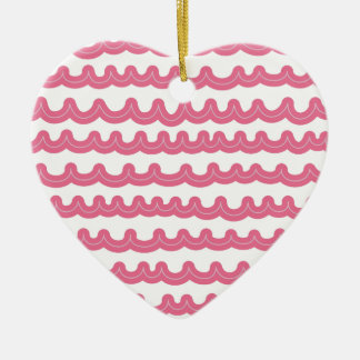 Rosa lunático das ondas de oceano ornamento de cerâmica coração