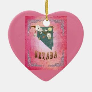 Rosa moderno dos doces do mapa do estado de Nevada Ornamento De Cerâmica Coração