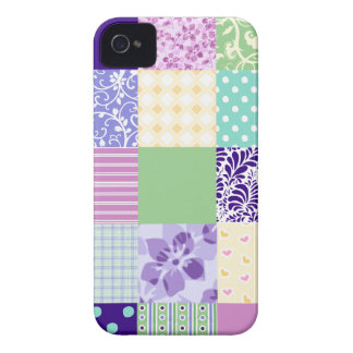 Rosa Pastel e quadrados femininos roxos do teste Capa iPhone 4 Case-Mate