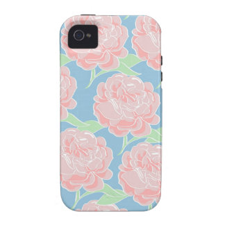 Rosa Pastel feminino bonito e impressão floral azu Capa Para iPhone 4/4S