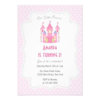 Rosa pequeno da princesa convite de aniversário