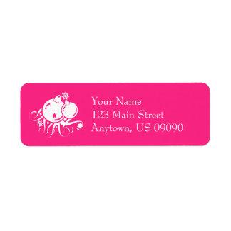 Rosa quente festivo de etiqueta de endereço dos