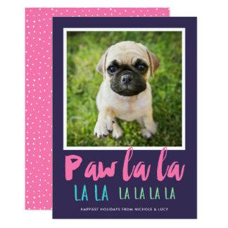 Rosa roxo do cartão   do feriado da foto do animal convite 12.7 x 17.78cm