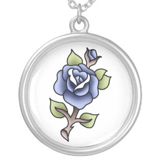 rosa tradicional do azul colar banhado a prata