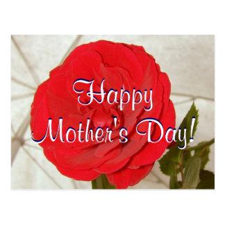 Rosa vermelha feliz do dia das mães mim cartão postal