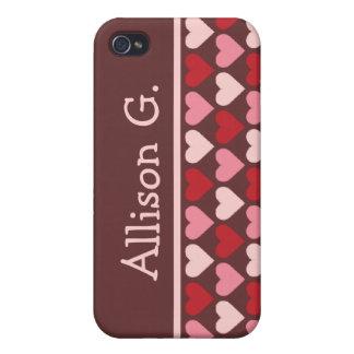 Rosa vermelho pern dos corações pequenos seu nome  iPhone 4 capa