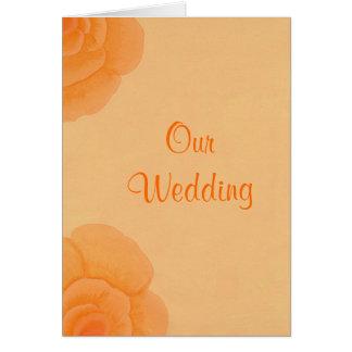 Rosas alaranjados desvanecidos que Wedding Cartão Comemorativo