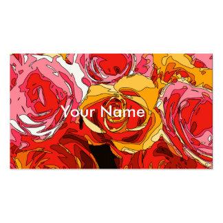 Rosas alaranjados e cor-de-rosa ricos vibrantes cartao de visita