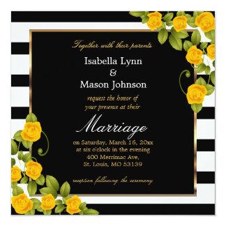 Rosas amarelos elegantes do casamento pretos & convite quadrado 13.35 x 13.35cm