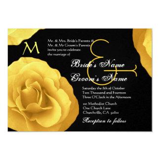 Rosas amarelos que Wedding o convite metálico Convite 12.7 X 17.78cm