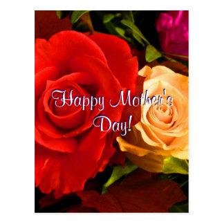 Rosas amarelos vermelhos do dia das mães feliz cartao postal
