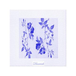 Rosas Azuis Impressão Em Canvas