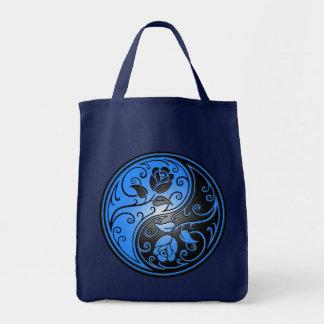 Rosas, azul e preto de Yin Yang Bolsa