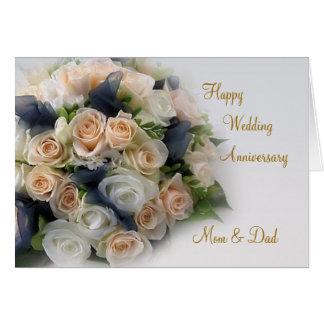 Rosas, cartão do aniversário de casamento para a