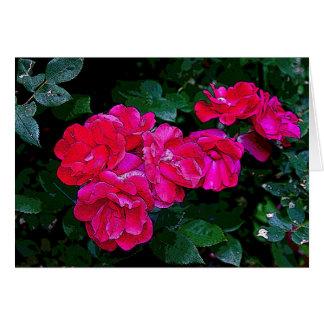 Rosas cintilando cartão comemorativo