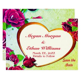 Rosas coloridos & economias do quadro do coração a convite 12.7 x 17.78cm