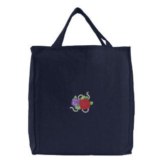Rosas com miçanga bolsa tote bordada
