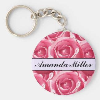 Rosas cor-de-rosa bonito feitos sob encomenda nome chaveiro