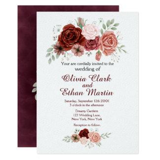 Rosas de Borgonha que Wedding o convite
