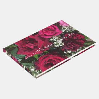 Rosas do casamento livro de visitas