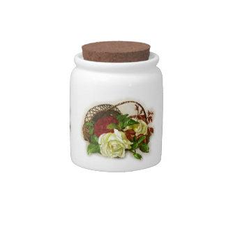 Rosas do pote de doces velho jarros de doces