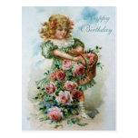 Rosas do rosa do cartão do Victorian do feliz aniv Cartao Postal