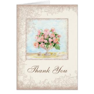 Rosas franceses pródigos elegantes do vintage cartão de nota